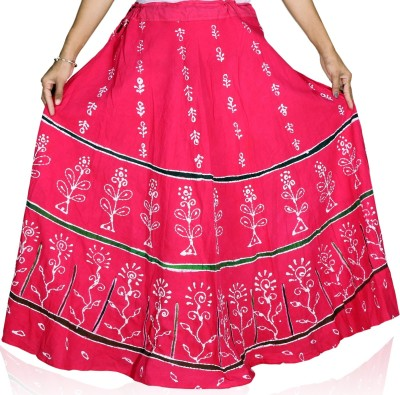 Cay Floral Print Women's Gathered Red Skirt