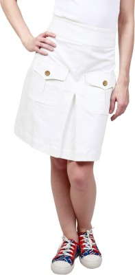 Ragdoll Solid Women,s Straight White Skirt