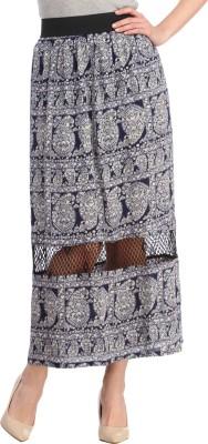 Cottinfab Paisley Women's Straight Black, Multicolor Skirt