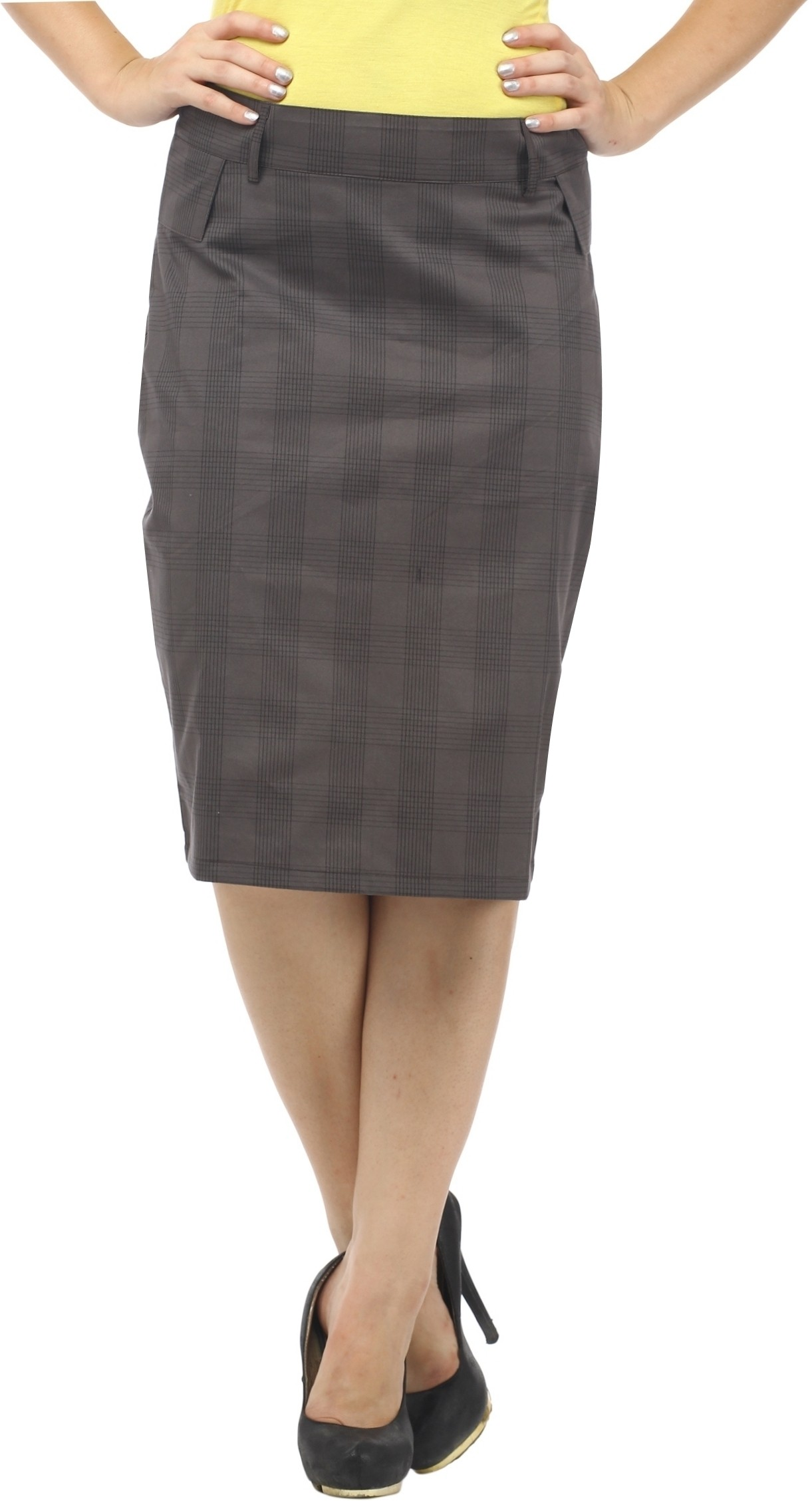 Cottinfab Checkered Womens Straight Grey, Black Skirt