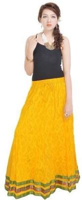 Navya Creations Printed Women's Straight Yellow Skirt