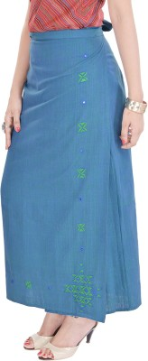 Geroo Embroidered Women,s Wrap Around Blue Skirt