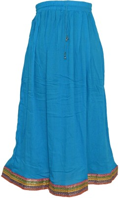 Pms Fashions Solid Women's Regular Blue Skirt