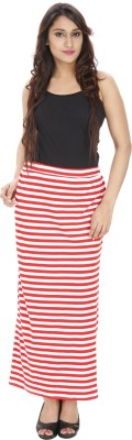 Franclo Striped Women,s Pencil Red, White Skirt