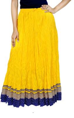 Rangreja Solid Women's A-line Yellow Skirt