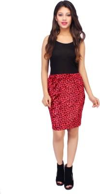 Bonne Vie Animal Print Women's Pencil Red Skirt