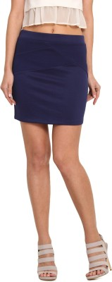 Leo Sansini Solid Women,s Regular Blue Skirt