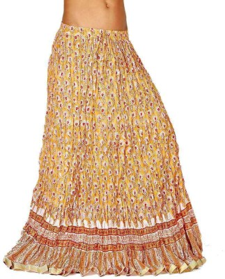 Jaipur Raga Floral Print Women's Regular Beige Skirt
