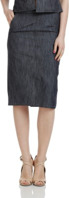 James Scot Solid Women's Pencil Grey Skirt at flipkart