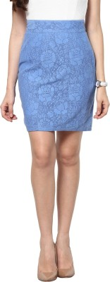 Abiti Bella Self Design Women's Pencil Light Blue Skirt