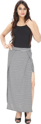 Franclo Striped Women's Pencil Black, White Skirt