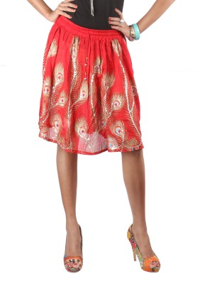 Indiankala4u Printed Womens Broomstick Red Skirt