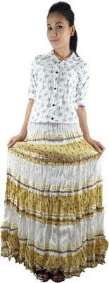 Shop More Floral Print Women's Regular Yellow Skirt