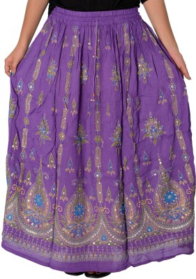Fashionmandi Printed Women's A-line Purple Skirt
