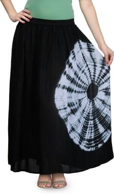 India Inc Printed, Solid Women's Straight Black Skirt