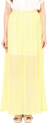 Miss Chase Solid Women's A-line Yellow Skirt