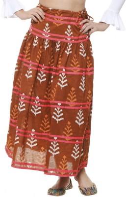 Aana Printed Women's Regular Brown Skirt