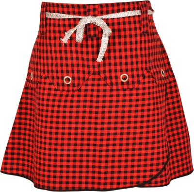 Gkidz Checkered Girl's A-line Red Skirt