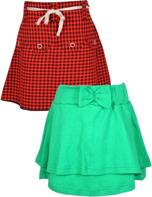 Gkidz Checkered Girl's A-line Red, Green Skirt