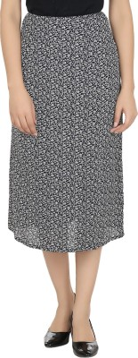 Eves Pret A Porter Printed Women's A-line Black, White Skirt at flipkart