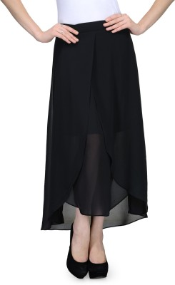 Natty India Solid Women,s Asymetric Black Skirt