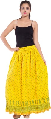 Decot Paradise Printed Women's Regular Yellow Skirt