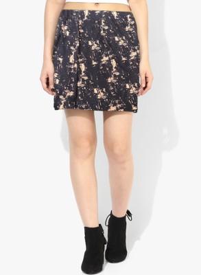 VAMIKA Self Design Women's Regular Black Skirt