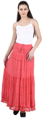 Numbrave Solid Women's Gathered Pink Skirt