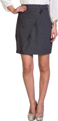 Sugar Her Solid Women's Pencil Grey Skirt