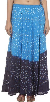 Ooltha Chashma Printed Women's Broomstick Blue Skirt