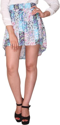 Bedazzle Floral Print Women's Asymetric Multicolor Skirt at flipkart