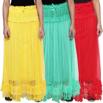 NumBrave Self Design Women's Layered Yellow, Green, Red Skirt