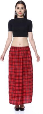 GraceDiva Checkered Women's Pencil Red, Black Skirt