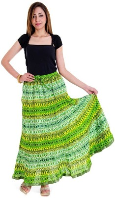 Halowishes Printed Girls Wrap Around Green Skirt