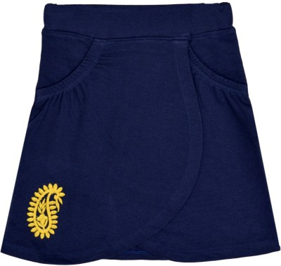 Lil Orchids Embroidered Girl's Wrap Around Dark Blue Skirt