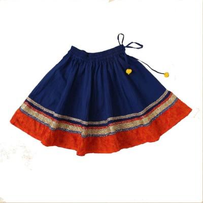 Little Pocket Store Embellished Girl's Gathered Blue Skirt
