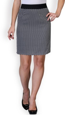 Purplicious Printed Women's A-line Black, White Skirt