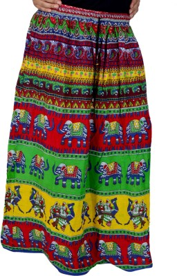 El Sandalo Printed Women's Broomstick Green Skirt