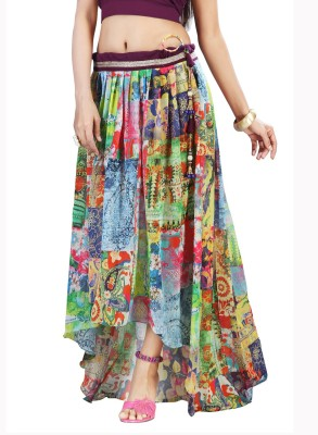 Admyrin Printed Women's Wrap Around Multicolor Skirt