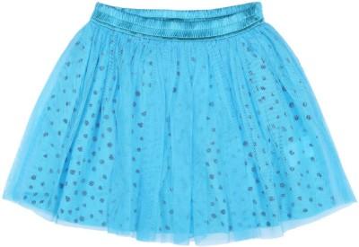 Aristot Polka Print Girl's Pleated Light Blue Skirt