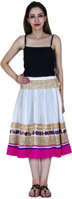 Home Shop Gift Embellished Women,s A-line White, Pink Skirt