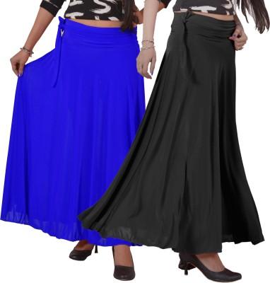 Ace Solid Women's A-line Black, Blue Skirt
