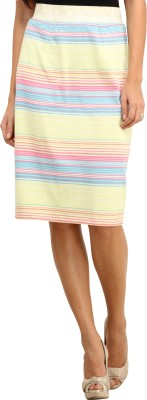 Ladybug Striped Women's Pencil Multicolor Skirt