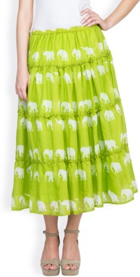 Famous by Payal Kapoor Graphic Print Women's Gathered Light Green Skirt