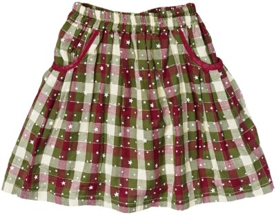 Textures Fashion Checkered, Printed Girl's A-line Multicolor Skirt