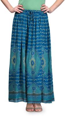 India Inc Printed Women's Straight Green Skirt