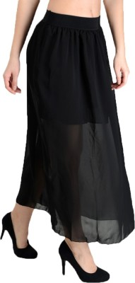 Pink Lace Solid Women,s A-line Black Skirt