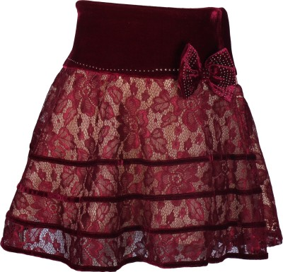 Cutecumber Embellished Girl's A-line Maroon Skirt