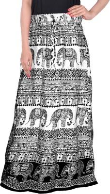 Bright & Shining Animal Print Women's Regular White Skirt