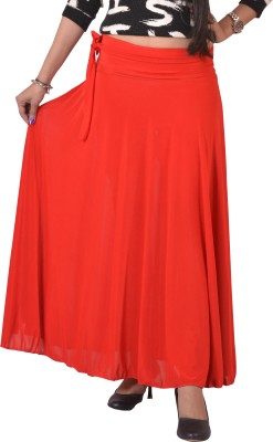 Ace Solid Women's A-line Red Skirt